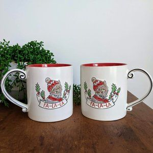 NWOT 2 Yorkie Dog Fa-La-La Christmas Coffee Mugs